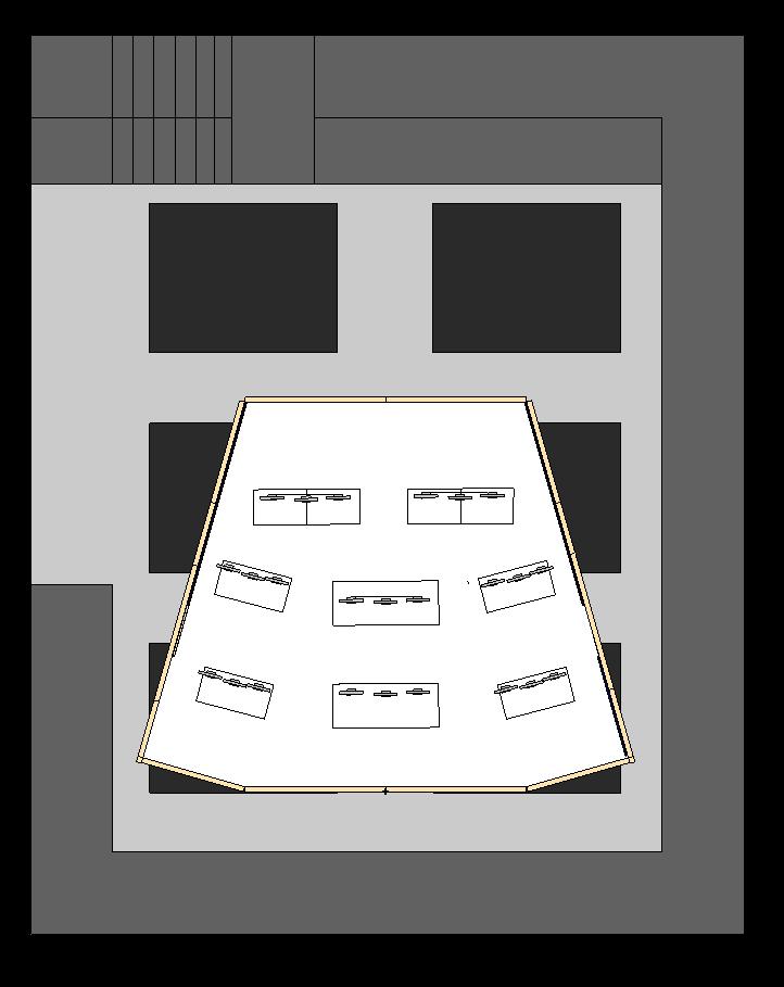 Overhead plan fit within the sound stage. light gray floor, medium gray catwalk, dark gray overhead pods